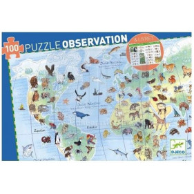 Puzzle Carton Observation - Les animaux du monde  100 pcs + Livret