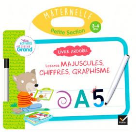 Ardoise - Livre Ardoise - Lettres majuscules, chiffres, graphisme