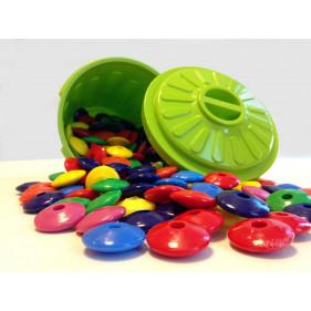 Confezione da 200 perle piatte assortite, in bidone / PERLES PLATES - 200 pcs en tambour